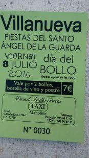 Ticket del Día del Bollo de Villanueva