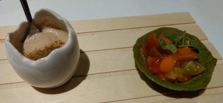 Tortilla de hongos y Talo con tomate
