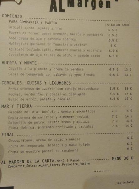 Carta del Restaurante Al Margen de Bilbao