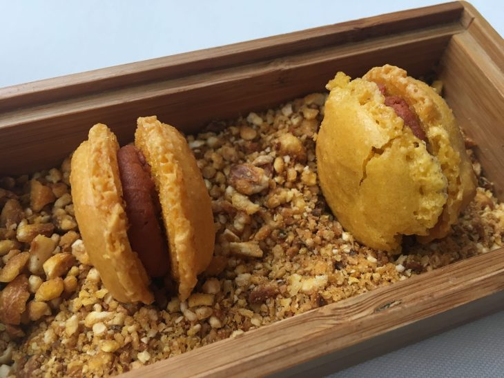 Macaron de maíz y sabadiego