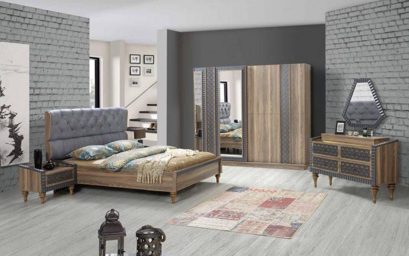 Şipstar Modern Blue Bedroom Furniture Set