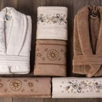 Berberler Rebeka Mens Women Bathrobe Bornoz And Towel Set Turkish Cotton Violet