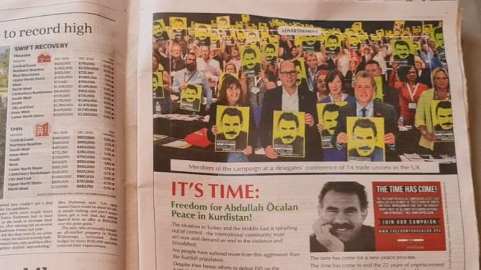 Avustralya'nın en önemli gazetesinde 'Abdullah Öcalan'a özgürlük' ilanı
