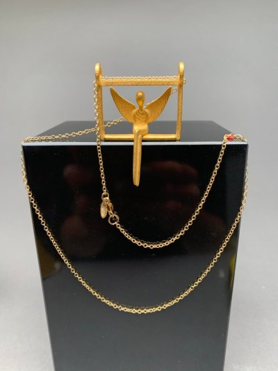 gold angel pendant with chain
