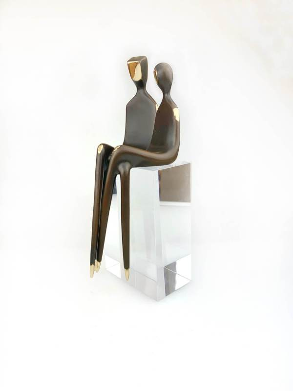 """angle view The Two of Us 10"""" Bronze sculpture couple"""