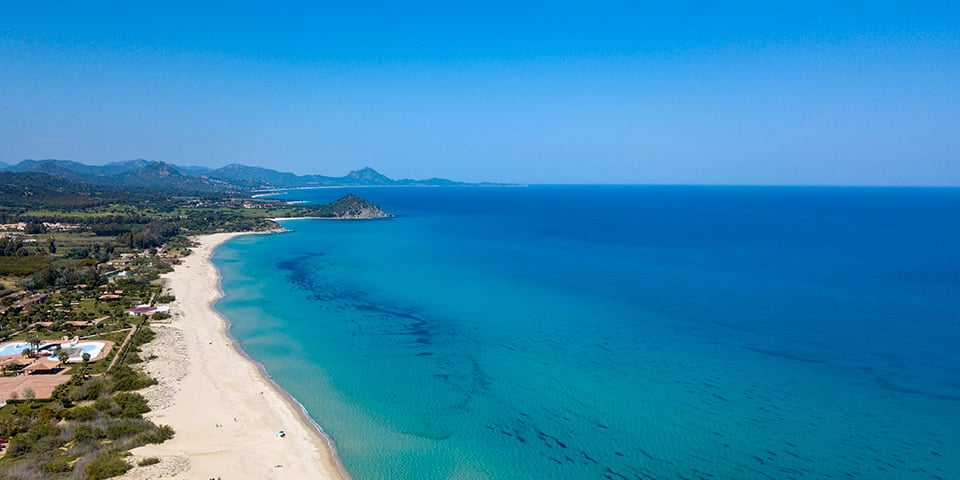 Aerial view of a beach in the Costa Rei area