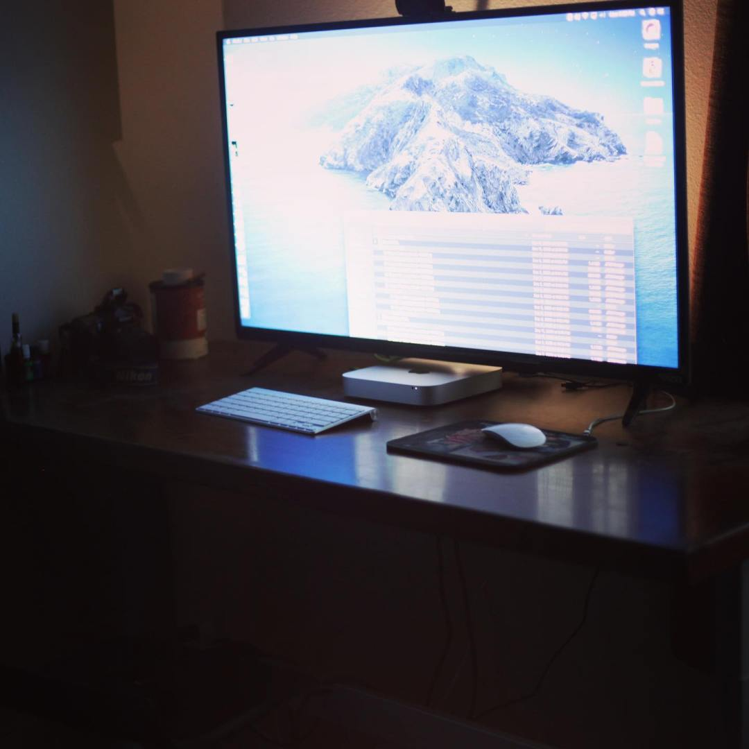 This is my editing standing desk with a large ultra sharp display powered by a Mac Mini.