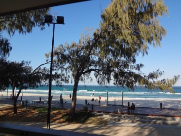 View from the deck at the restaurant of The Surf Club Kurrawa.