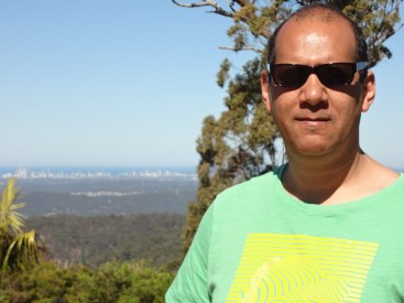 Me at Eagle Height with the Gold Coast beyond.