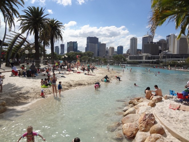 The street beach on the Southbank in Brisbane.
