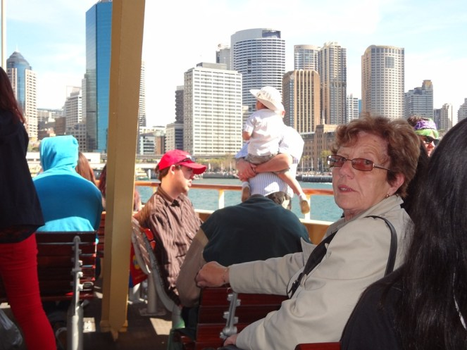 Mother on the ferry on the way to Manly Beach.