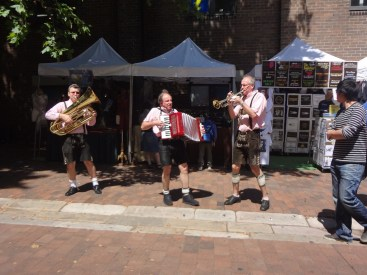German Oompah band outside the Lowenbrau Bier Keller in The Rocks