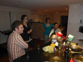 Everybody watching Suban cooking.