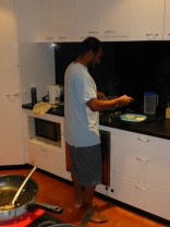 Suban cooking dinner