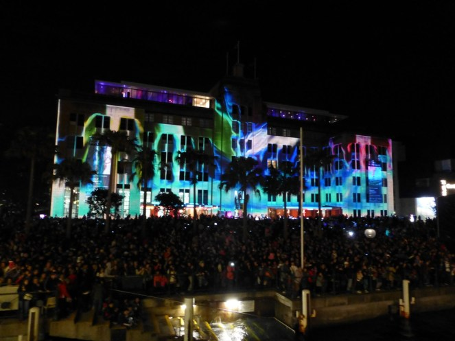 One of the buildings lit up by the Vivid Festival.