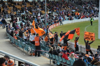 The small but vocal GWS cheer squad
