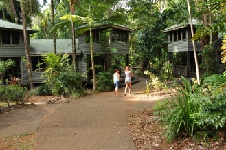 Heading down to the restaurant at Ferntree Rainforest Lodge