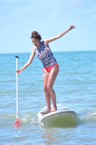 Ciara looking a bit wobbly on the Paddle Board.