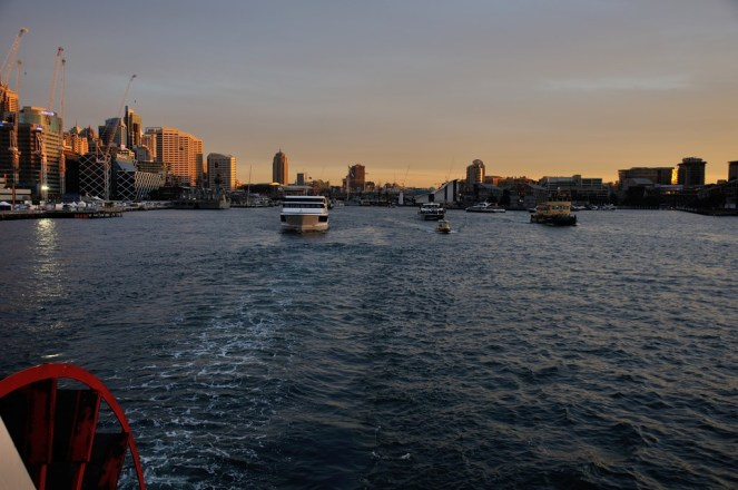 Leaving Darling Harbour in the evening sun.