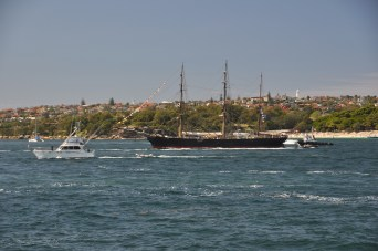 One of the Tall Ships moored up on the harbour
