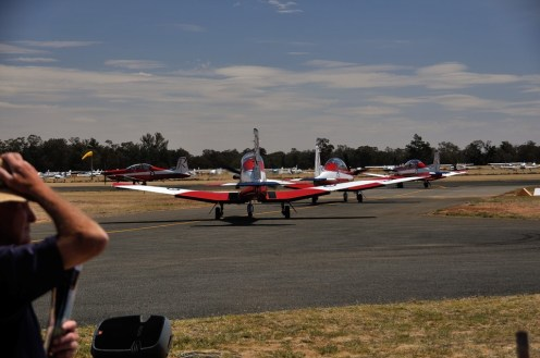 The RAAF Roulettes form up ready for their display