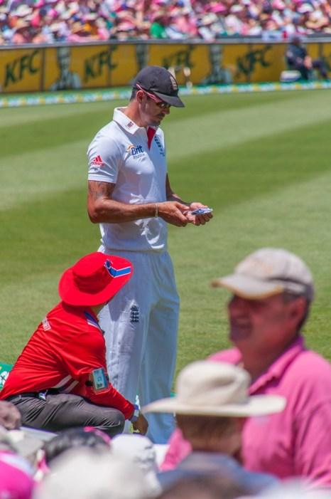 England cricketer Kevin Pietersen signs an autograph