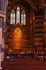 School choir practicing inside St. Paul's Cathedral
