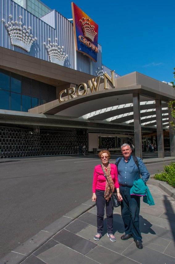 Outside the massive Crown Casino.