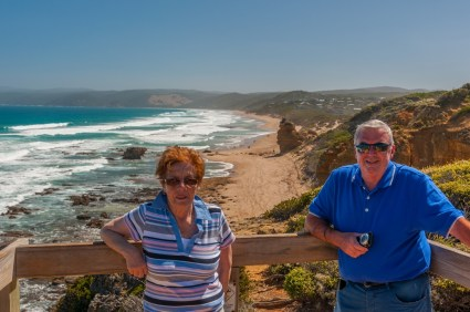 The folks posing at the lookout Aireys Inlet.