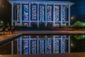 The National library in reflective mood.