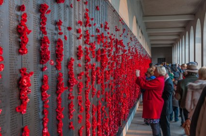 The Roll of Honour filled with poppies