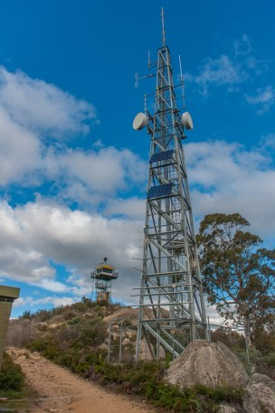 Telecoms tower and fire lookout tower on the summit