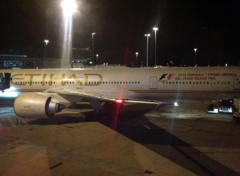 My first plane waiting at the gate at Melbourne airport