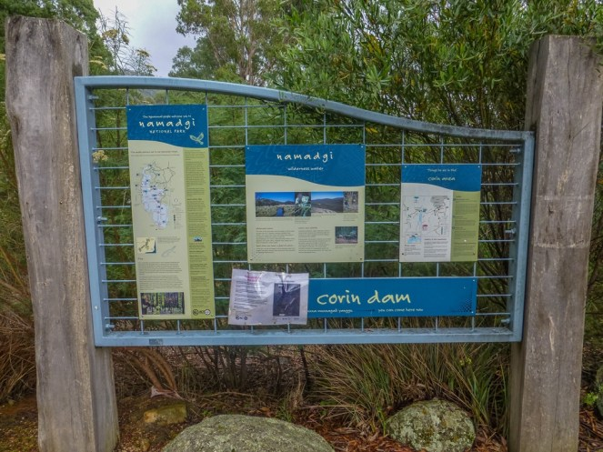 Visitor information about the Corin dam area
