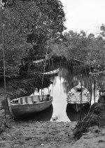 Perahu ditambatkan di sekitar tempat tinggal warga suku hutan Batam.