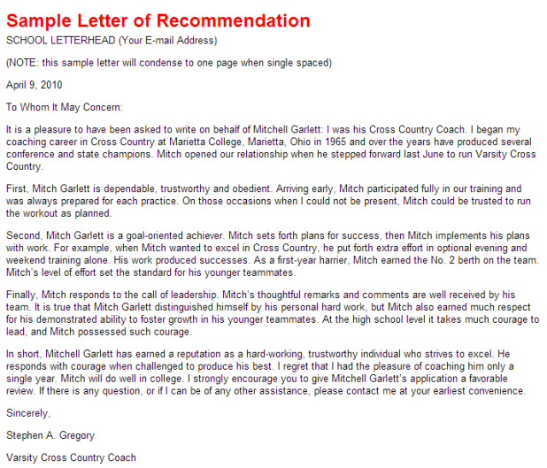 writing a letter of recommendation for an athlete what are the consequences