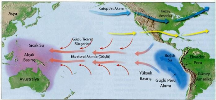 Şekil 6. El Nino olayının gerçekleşme haritası.