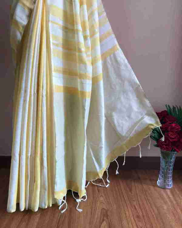 Pastel Yellow X White X Gold Stripe Linen Cotton Saree Yeshan Sarees