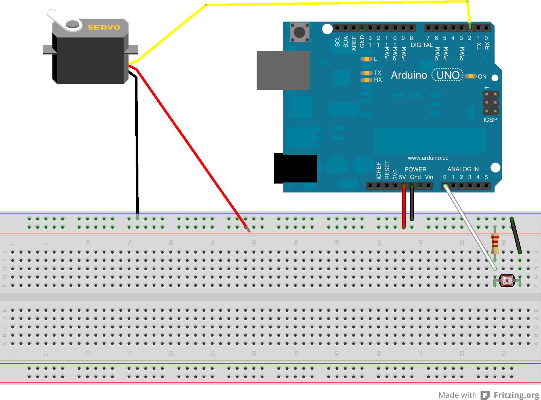 hight resolution of light sensor servo arduino