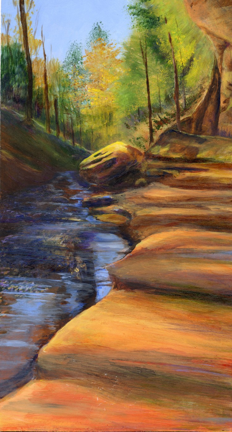 acrylic painting of Hocking Hills State Park, ohio