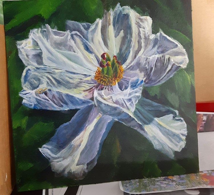 white flower acrylic painting by Yeshuas Child Art
