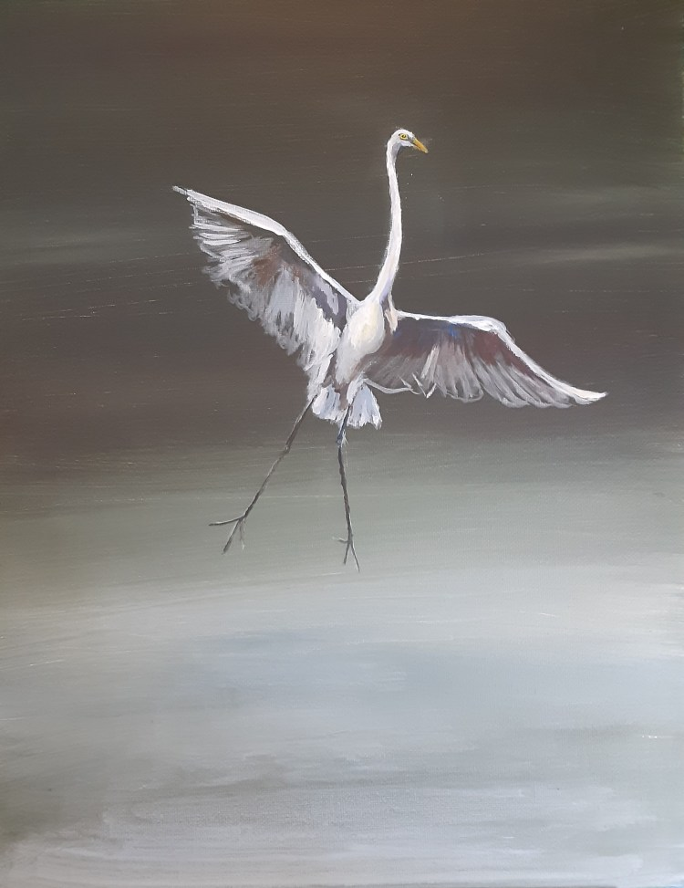 Great egret mid-tones and whites acrylic painting