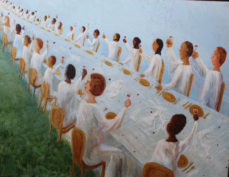 acrylic painting of the wedding feast of the lamb