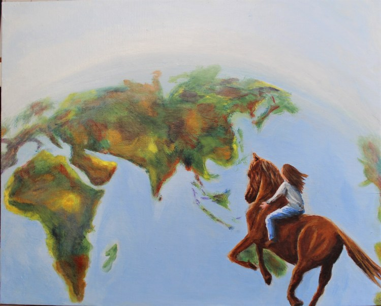 horse and rider galloping across the globe acrylic painting