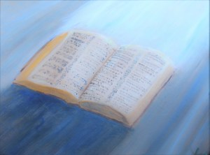 Store the Word, acrylic painting depicting a Bible lit up from above