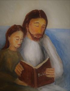 Jesus reading the Bible