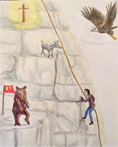 prophetic drawing of an individual rapelling down a mountain with various prophetic thoughts