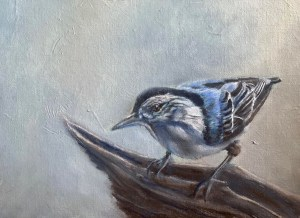 oil painting of a nuthatch perched on a stump.