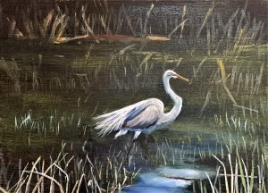 acrylic painting of a great egret in the marshes of Michigan