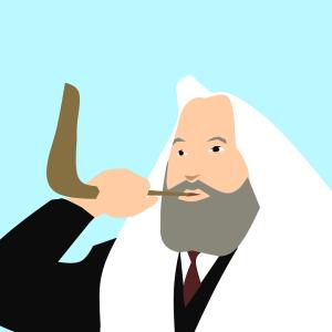 Rabbi blowing a shofar at Rosh Hashana